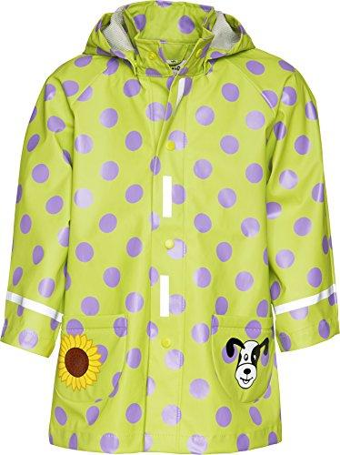 Playshoes Mädchen Regenmantel 408592 Regenmantel Punkte mit Reflektoren, Oeko-Tex Standard 100, Gr. 116, Grün (original)