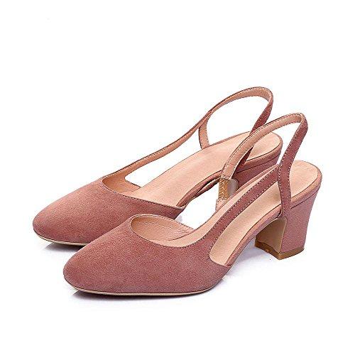 GJDE Laterali Sandali Ciabatte Bocca Poco Profonda di Spessore col Tacco Alto Estate Delle Donne Scarpe Signore Pink