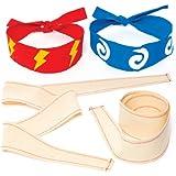 Diademas ninja de tela que los niños pueden pintar, decorar y llevar en fiestas de disfraces - Juego de manualidades creativas para niños - (pack de 5).