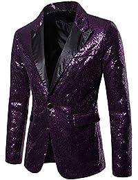 ac141e99806d Vertvie Homme Veste Blazer Affaires Paillette Slim Fit Un Bouton Costume  Manteau Jacket pour Soirée Cocktail