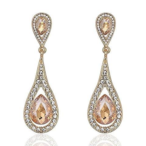 Wedding Clear&Champagne Crystal Art Deco Teardrop Clear Dangle Earrings Golden Long Earrrings, Teardrop