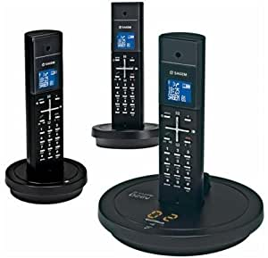 Sagem Téléphone sans fil D26V Trio 3 combinés avec répondeur DECT/GAP Noir
