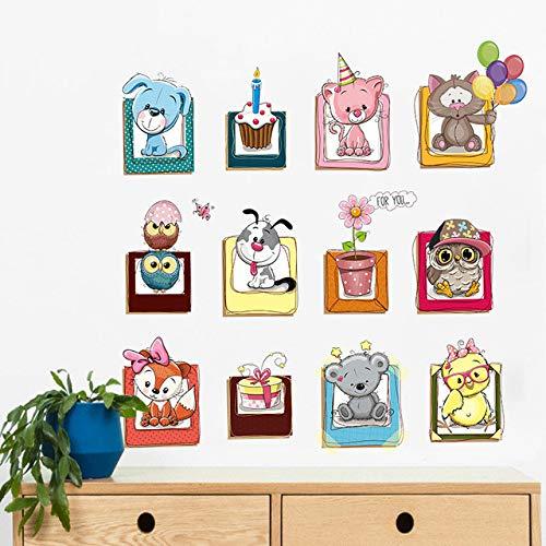 Cartoon niedlichen tier foto rahmen wohnkultur wandaufkleber eule hund kinder schlafzimmer diy kleiderschrank abnehmbare vinyl aufkleber (Halloween-fotos Hund Lustige)