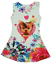 Girls Puppy Dog Floral Sleeveless Party Skater Style Sun Dress sizes from 3 to 12 Years