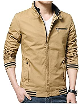 Zhhlaixing Clásico Spring Men's Cotton Casual Coats Stand Collar Outerwear Zipped Jackets
