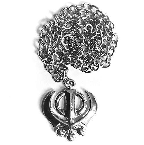 DevDeep Edelstahl Punjabi Sikh Khanda Anhänger & Kette Nackenlos Auto Hängen-Armband für Wohlstand, Glück, Perfektes Einzugsgeschenk, Erfolgskraft Wachstum Entfernt Hindernisse. (Auto Zinn-anhänger)