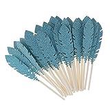 MagiDeal 30pcs Papier Feder Cupcake Topper Kuchen Picks Baby Dusche - Blau, 11,5cm