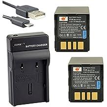 DSTE BN-VF733U Li-ion Batería (2 paquetes) Traje y cargador micro USB para JVC GZ-MG20, GZ-MG21, GZ-MG24, GZ-MG26, GZ-MG27, GZ-MG30, GZ-MG31, GZ-MG35, GZ-MG36, GZ-MG37, GZ-MG39, GZ-MG40, GZ-MG47, GZ-MG50