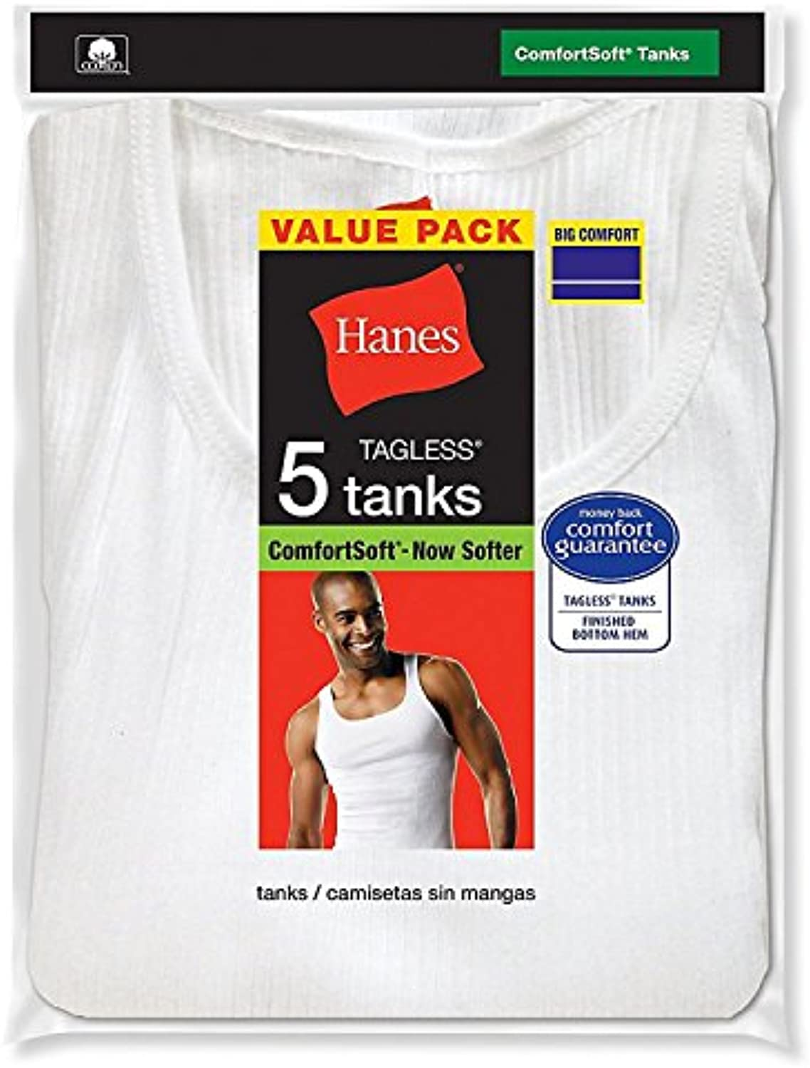 Hanes Men's Tank White  Pack of 5