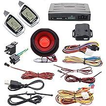 Calidad Spy 2way coche sistema de alarma de seguridad pantalla LCD remote engine start de entrada sin llave localizador Sensor de choque turbo temporizador