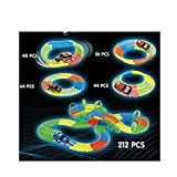 #10: Rose International Beautiful DIY 212 Pcs Melody Lamplight Electric Rail Race Car Tracks with Luminous Rail Toy for Kids Indoor Game