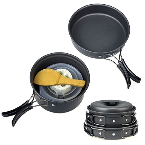 Bocideal(TM) 8pcs New Outdoor Camping Hiking Cookware Backpacking Cooking Picnic Bowl Pot Pan Set