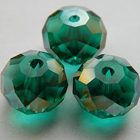 12x9mm Teal cut glass rondelle beads - 20