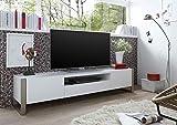TV-Lowboard, TV-Schrank, TV-Board, Fernsehschrank, TV-Bank, TV-Sideboard, TV-Unterschrank, weiß, Edelstahl-Optik, gebürstet
