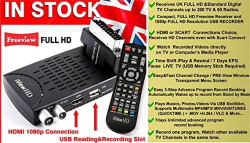 New FULL HD Mini Scart FREEVIEW HD Set Top Digi Box Digital TV Receiver & 1080P HD USB Recorder DVB-T2 HD Terrestrial…