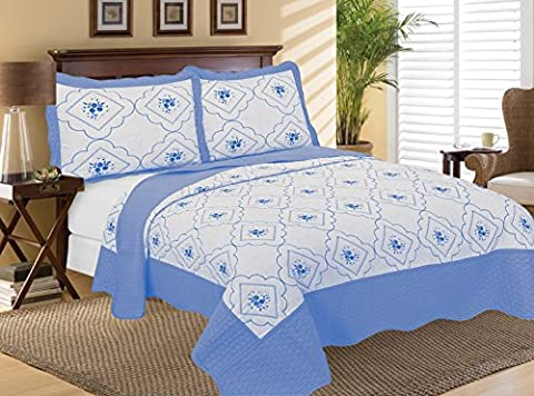 3 Piece Embroidered Quilted Poly Cotton Bedspread, Luxury Comforter Sets, Bedding Sets, Throw + 2 Pillow Shams (King, Blue)