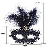 WWVAVA Masque Couleur Premium Cuir Plume Masque Masquerade Parties Halloween Parties...