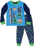 Minecraft Pijamas de Manga Larga Steve y Creeper para Niños 7-8 Años