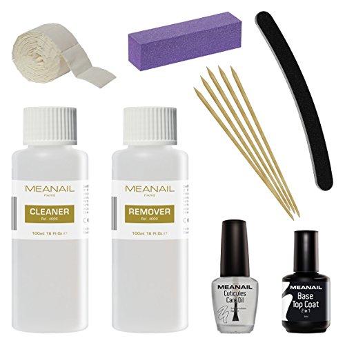 Meanail Cleaner para Gel Esmalte de Uñas Base y Top Coat Semipermanente Esmalte Semipermanente UV LED Kit de Manicura y Pedicura