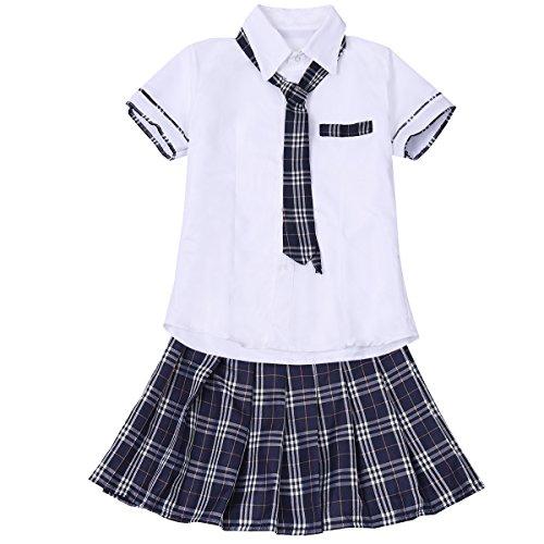 Agoky Schulmädchen Kostüm Kariert Rock Cosplay Dessous Outfit -