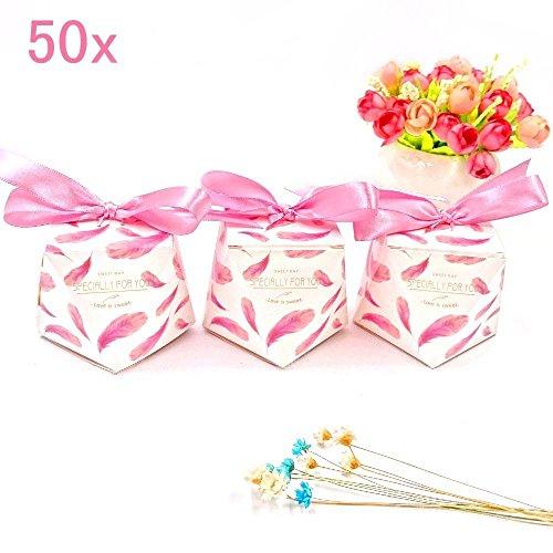 JZK 50 Diamant Form Süßigkeiten Schachtel mit bändern, Gastgeschenk Schokolade Box für Hochzeit Geburtstag Weihnachten Babyparty Kinderparty Taufe, rosa (Halloween-süßigkeiten Formen)