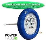 POWERHAUS24 - Ringthermometer mit V2A Messfühler und blauem Schwimmring -