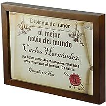 Regalo personalizable para tu pareja: diploma pergamino 'al mejor novio del mundo' personalizado con su nombre, dedicatoria, firma y fecha