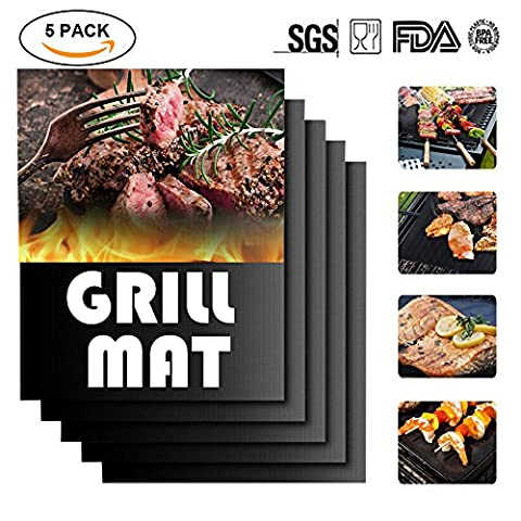 BBQ Grill Mat Set of 5, Meerveil Heat Resistant Barbecue Sheets Non Stick Reusable Oven Liner Teflon FDA-Approved Cooking Mats for Baking on Gas, Charcoal, Oven and Electric