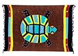 Sarong Pareo Wickelrock Strandtuch Tuch Wickeltuch Handtuch - Blickdicht - ca. 170cm x 110cm - Braun Bunt Batik mit Schildkröte Motiv Handgefertigt inkl. Kokos Schnalle in Rauteform