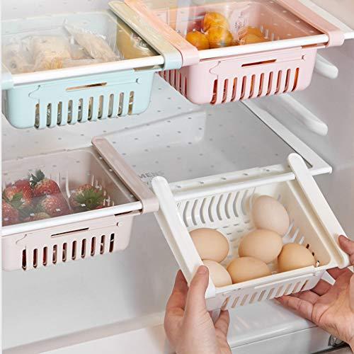 Lagerregal Kühlschrank Partition Layer Organizer,Ausziehbare Kühlschrank Schublade Organizer,Einstellbare Kühlschrank Regal Halter Aufbewahrungsbox,Mehrzweck Obst Gemüse Storage Rack (Rosa, 1 Stück)