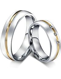 Anazoz Acero Inoxidable Anillo de Promesa Forma redonda Bump Líneas Dorado Ancho 6mm Anillo de Amor Plata Para Hombres y Mujeres