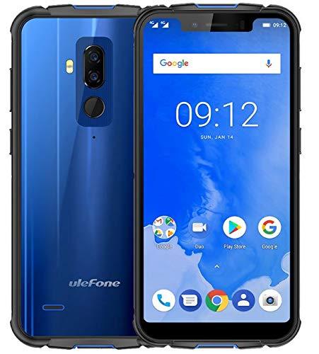 """ULEFONE ARMOR 5 Gehäuse IP68 Handy mit 19:9 Notch Bildschirm - Wasserdichtes staubfestes stoßfestes Outdoor Smartphone mit 5.85"""" HD Display: Fingerabdruck ID + Gesichtserkennung ID, 2.0GHz Octa Core 4GB + 64GB, unterstützt drahtlose Ladung der 5000mAh Batterie, NFC/Dual SIM/Android 8.1 - Blau"""