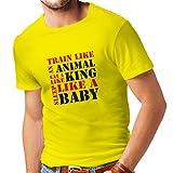 T-shirt pour hommes Train Hard - devis de motivation, plan d'entraînement quotidien (XX-Large Jaune Rouge)...