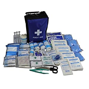 195 piece ultimate comprehensive first aid kit in blue bag - suitable for most medical emergencies