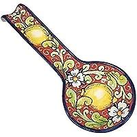 CERAMICHE D'ARTE PARRINI- Ceramica italiana artistica , posamestolo decorazione limoni , dipinto a mano , made in ITALY Toscana