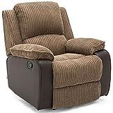 POSTANA Jumbo Cord Fabric Recliner Armchair Sofa Lounge Home Reclining Chair (Brown)