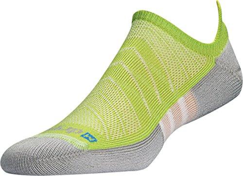 Drymax Unisex Max Cushion Run No Show Tab Socken, Damen Unisex-Erwachsene, Lime Green/Gray, Small -