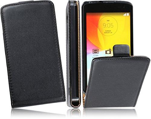 Case Premium Flip Cover PU Ledertasche Handytasche für LG L Fino D290N Flipstyle Schutz Hülle in Black/Schwarz