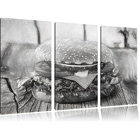 Yummy Cheesburger effetto disegno a carboncino 3 pezzi picture tela 120x80 immagine sulla tela, XXL enormi immagini completamente Pagina con la barella, stampe d'arte sul murale cornice gänstiger come la pittura o un dipinto ad olio, non un manifesto o un banner,