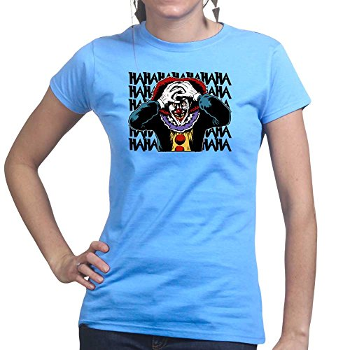 Womens Laughing Clown Scary Halloween Ladies T Shirt Top) X-Large Light Blue