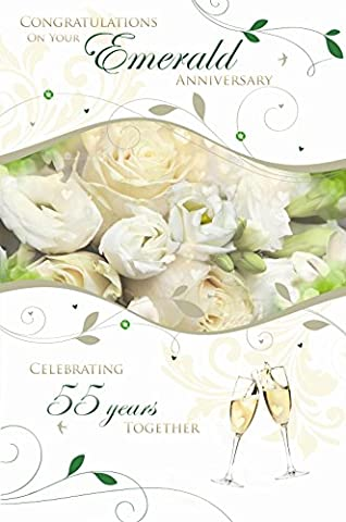 Congratulations On Your Emerald Wedding Anniversary 55th Rose Design Greeting Card
