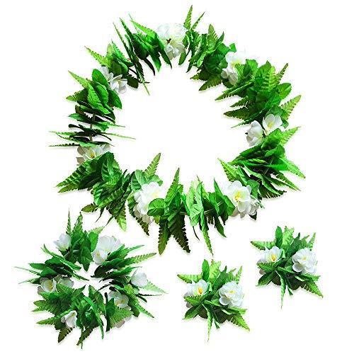 hmuck, Hawaiianische Blume, Jumbo-Halskette, Armbänder, Haarband, Set für Hawaiianische Luau-Party, St. Patrick's Day Beach Party Dekoration, Supplies Grün ()