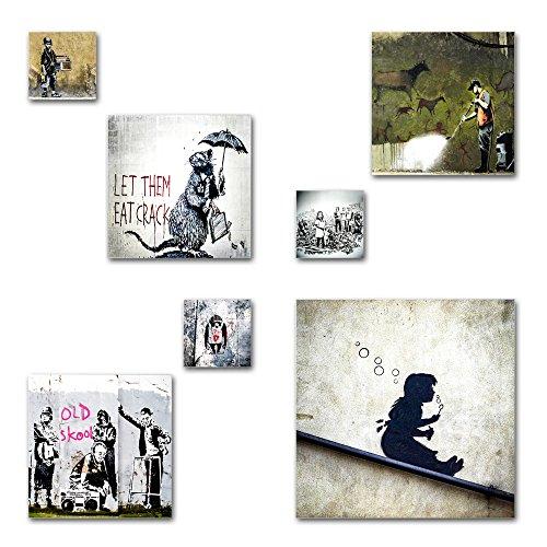Banksy Bilder Set, 7-teiliges Bilder-Set, moderne seidenmatte Optik auf Forex, frei positionierbare schwebende Anbringung, UV-stabil, wasserfest, Kunstdruck für Büro, Wohnzimmer, XXL Deko Bilder -