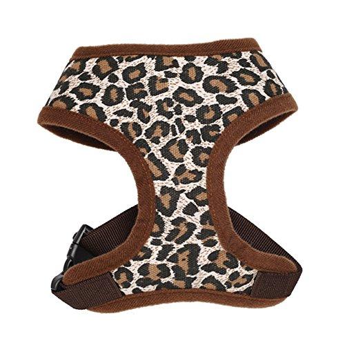 Forepin® Portable Vest Dog Harness Traspirante Pet Harness Cinghia Della Maglia Guinzaglio per le Piccole e Medie Cani (Leopard, L)