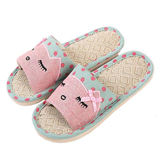APIKA Linen Couple Home Slippers Japanese Style Child Fun Cartoon Slippers Breathable Non-Slip Bottom Light Gift with Love