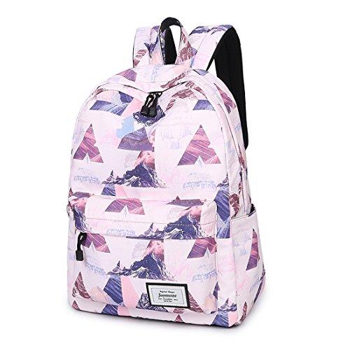 Joymoze Unisex wasserdichter und bedruckter Fashion Rucksack Süß Schule Buchtasche für Jungen und Mädchen Weißes Dreieck 830 Rosa Dreieck