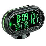 Vickmall - Termometro/orologio digitale per auto con schermo LCD, portatile