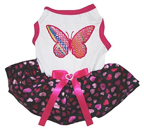 Petitebelle Hundekleid, Regenbogenfarben/Schmetterlinge, weißes Hemd, Hot Pink mit Herzen und schwarzem Tutu - Regenbogen-herz-tee