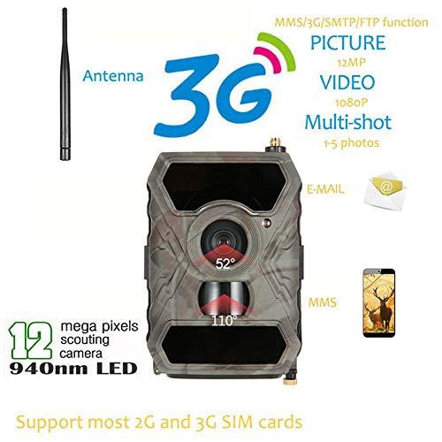 TONGTONG 12MP HD 1080P Digital Hunting Camera 940NM Trail Game Camera 3G Network SMS/MMS Night Vision 56pcs IR LED