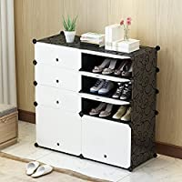PREMAG Portable Shoe Storage Organzier Tower, Modular Cabinet Shelving for Space Saving, Shoe Rack Shelves for shoes, boots, Slippers (2x 4-tier)